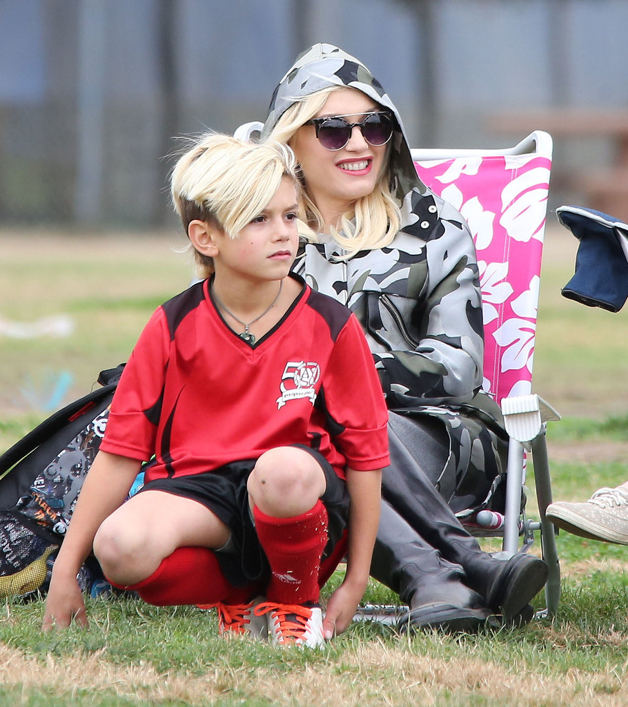 Gwen Stefani supported Kingston at his Saturday soccer game in LA.