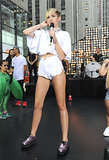 For her Today show performance, Miley traded her true blue denim for white cutoffs.