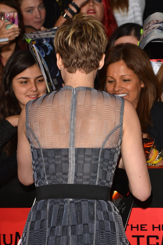 Jennifer Lawrence greeted fans at the Catching Fire premiere.