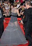 Jennifer Lawrence signed autographs for fans while walking the red carpet.