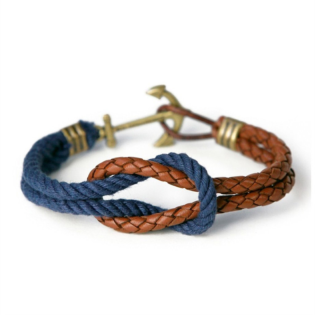 Yes, even guys can get in on the arm party thanks to this leather and rope nautical bracelet ($58) from Kiel James Patrick.