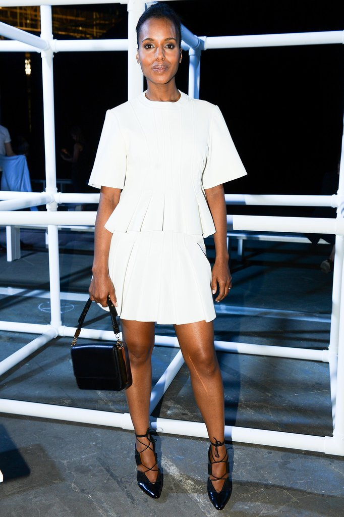Washington chose a white skirt and peplum top for the Alexander Wang Spring 2014 show in New York.