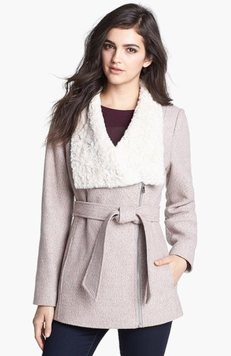 Jessica Simpson Faux Shearling Collar Tweed Coat