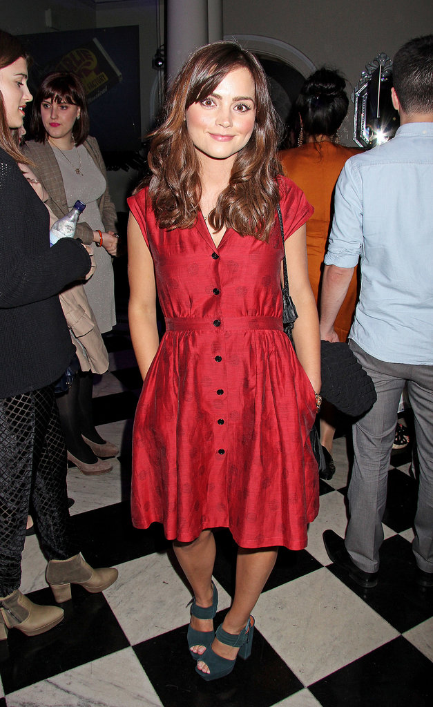 At the press night of Charlie and the Chocolate Factory in London in June 2013, Jenna wore a red shirtdress with chunky sandals.
