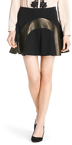 Tristana Leather Panel Skirt In Black