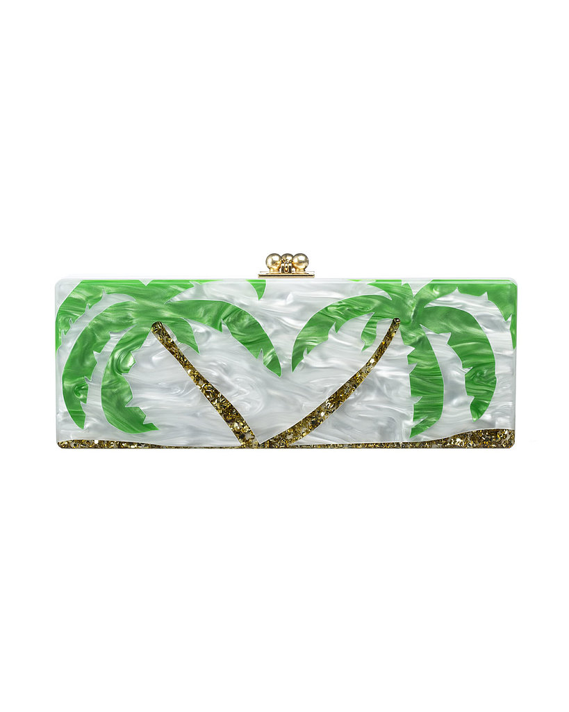 If a tropical vacation hovers on your calendar for early 2014, you might as well start your packing list now. Edie Parker's cornered the market on pricey, acrylic box clutches, and this palm tree option ($1,495) is perfect for somewhere warm.