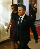 President Obama and First Lady Michelle Obama walked hand in hand into the ceremony.