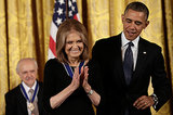 Gloria Steinem gave a sweet smile after receiving her medal.