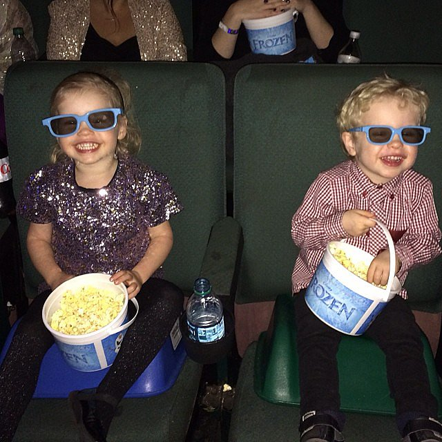 Harper and Gideon Burtka-Harris had everything they needed for the premier of Frozen: popcorn, booster seats, and 3D glasses. Source: Instagram user instagranph