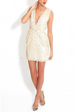 Cream Low Cut Sequin Drape Dress