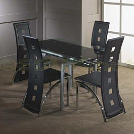 Italian Furniture Mandy Glass Extending Dining Table with 4 Chair set
