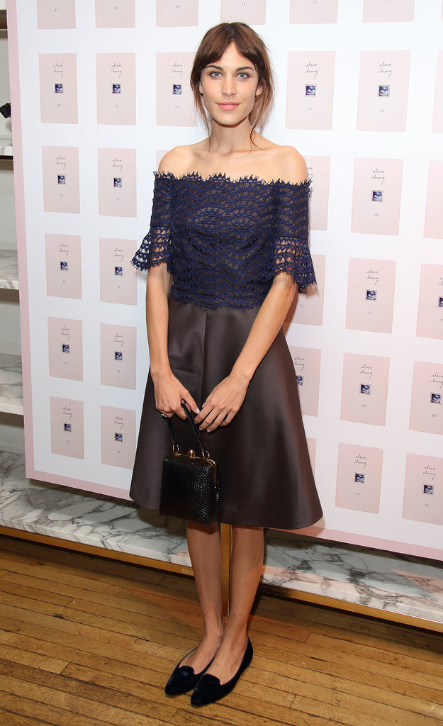 It's common to see celebrities in gorgeous shoes that have you wondering not if they're comfortable, but whether they can actually walk in them. Not so for Alexa Chung, who finishes off girlie, pretty party frocks with flats. Cheers for Alexa!