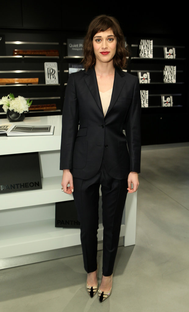 Lizzy Caplan suited up for the event.