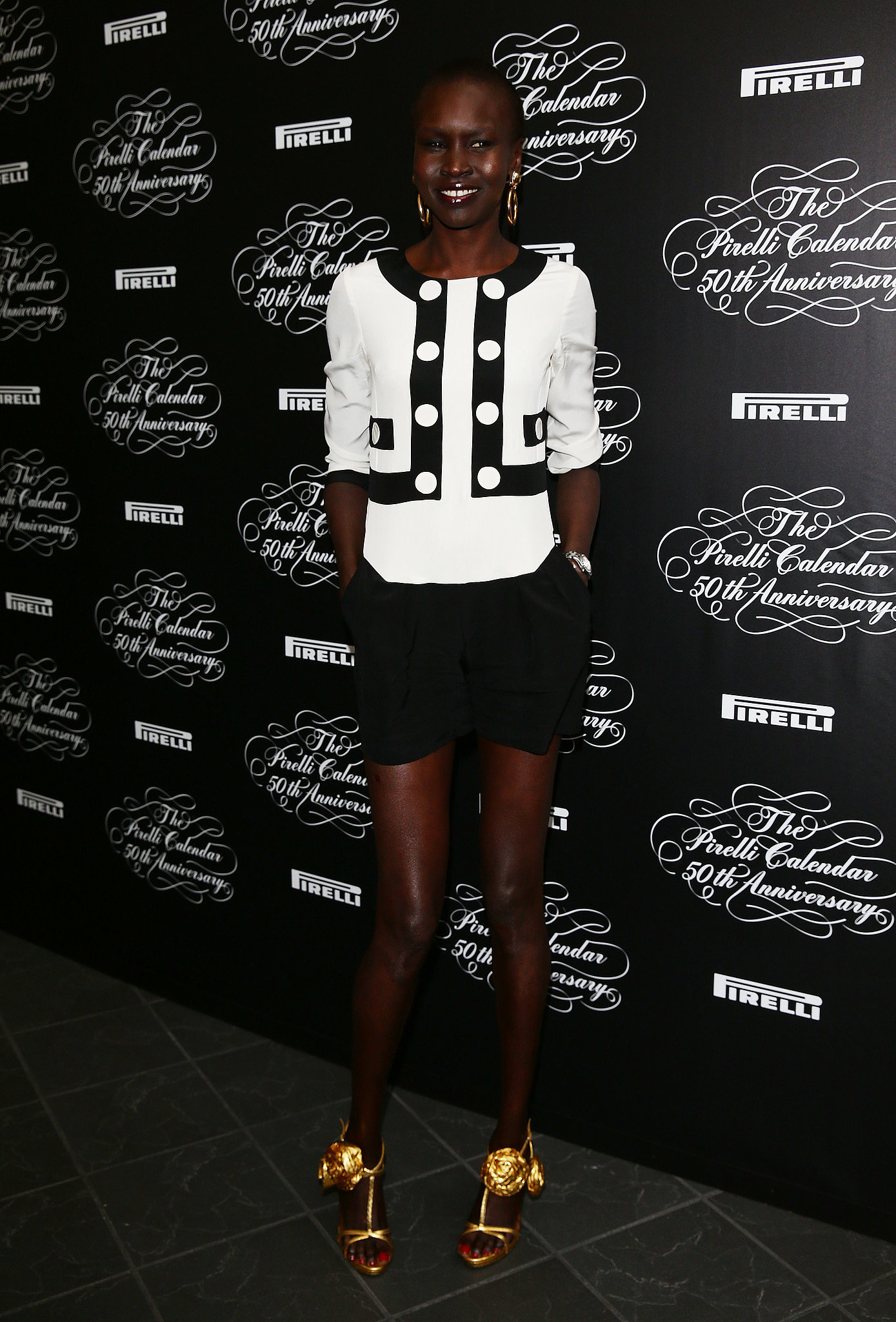 Alek Wek at the Pirelli Calendar's 50 anniversary party.