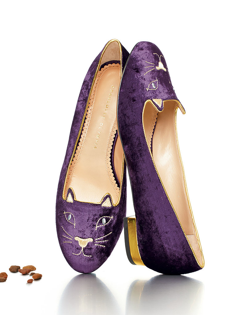 Charlotte Olympia Kitty Crystal-Eye Velvet Cat Slipper ($695)