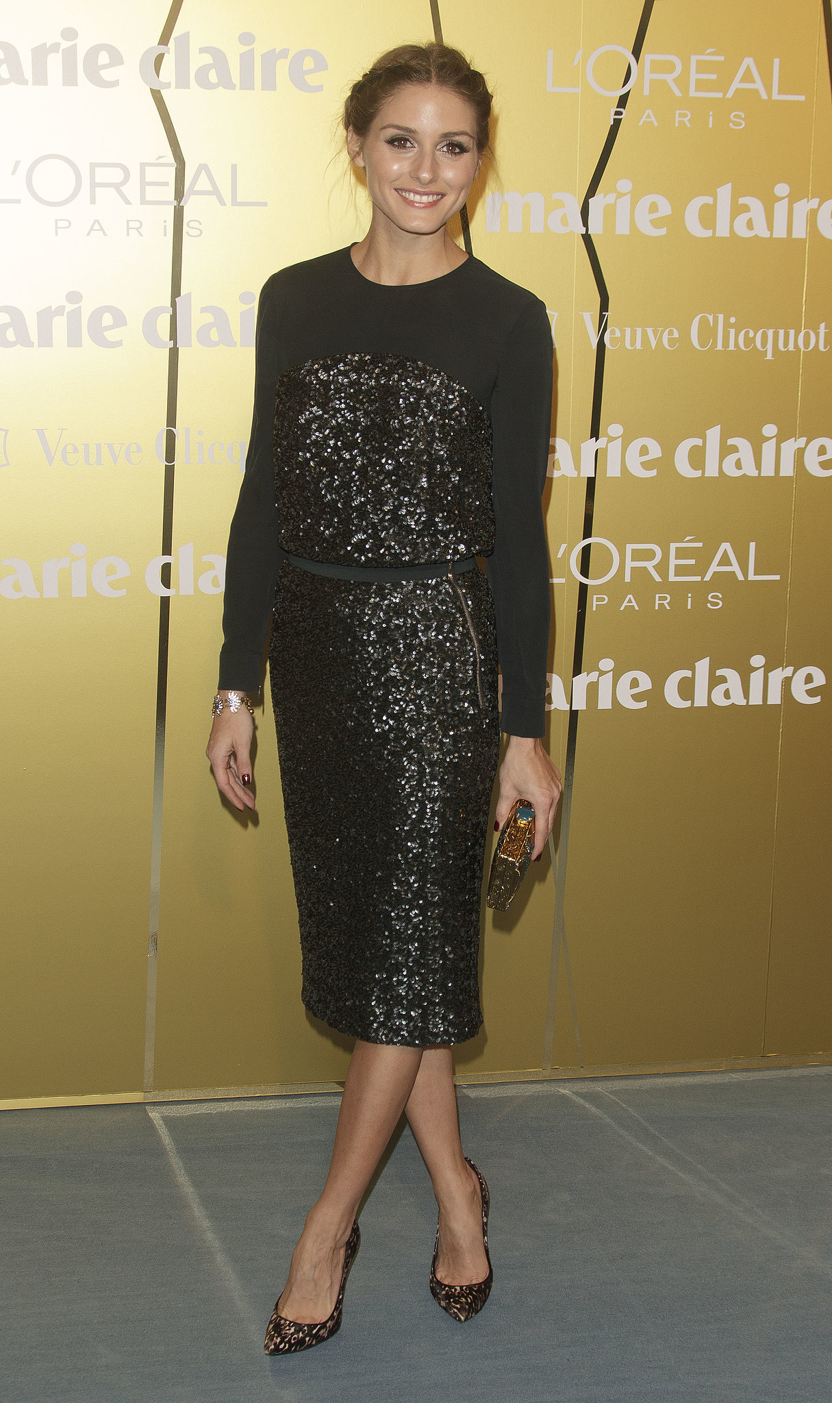 Olivia Palermo in Stuart Weitzman accessories at the Marie Claire Prix de la Moda Awards.