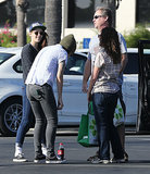 Kristen Stewart met up with a group of friends outside a grocery store in Long Beach, CA.