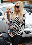 Jessica Simpson held her daughter, Maxwell, while walking into her nephew Bronx's birthday party in LA.