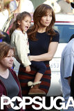 Jennifer Lopez got family support from her daughter, Emme, on the set of The Boy Next Door in an LA neighborhood.