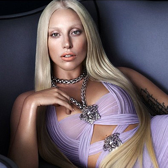 Lady Gaga Purple Dress Versace Ad; Donatella Versace