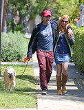 Jon Hamm put his arm around Jennifer Westfeldt during a stroll in LA in April.