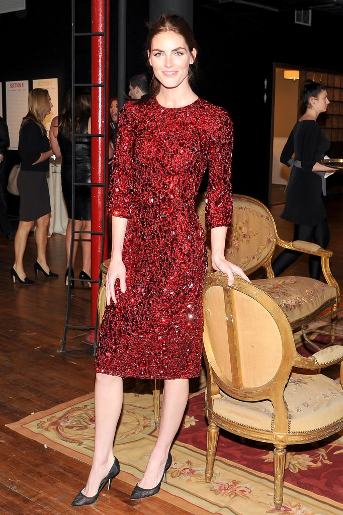 Hilary Rhoda's festive red Dolce & Gabbana number would be perfect for a dressed-up Christmas party.