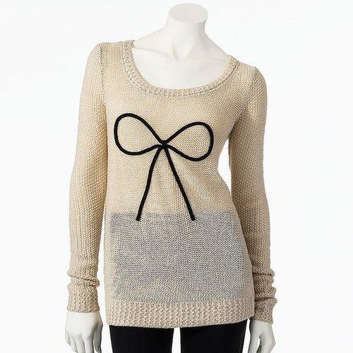 Lc lauren conrad lurex bow sweater