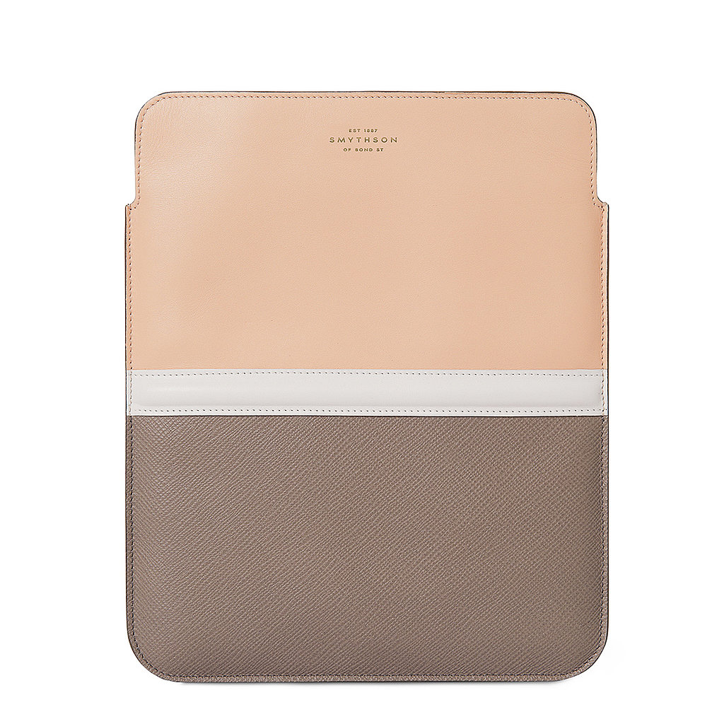 The sophisticated colorblock case ($364) by Smythson will add a ladylike look to any tablet.