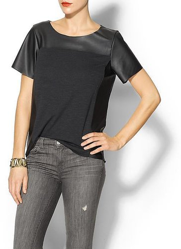 Velvet by Graham & Spencer French Terry/Faux Leather Lorinda Top