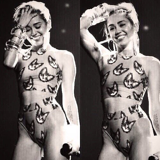 Miley shared a couple candid stills from her AMAs performance. Source: Instagram user mileycyrus