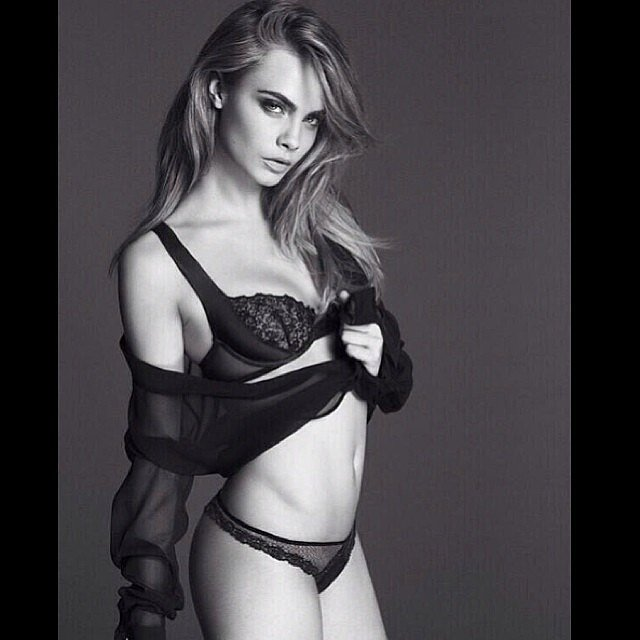 Cara Delevingne posted a revealing black and white lingerie shot. Source: Instagram user caradelevingne