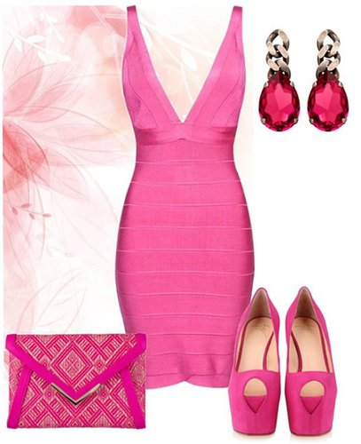 'Pretty in Pink' deep V Neck Bandage Dress