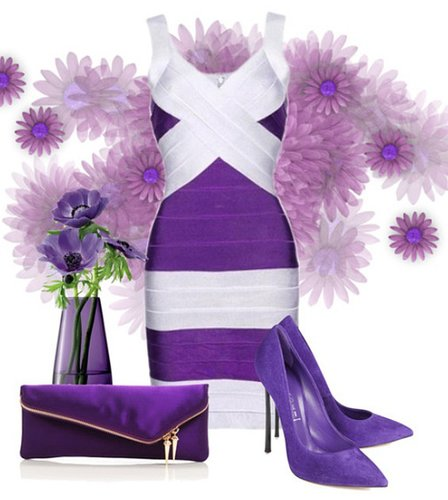 Royal Victoria Purple Grey bandage Dress