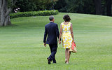 The Obamas looked relaxed together as they departed the White House for an August vacation on Martha's Vineyard.