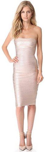 Herve leger Sianna Foil Strapless Dress