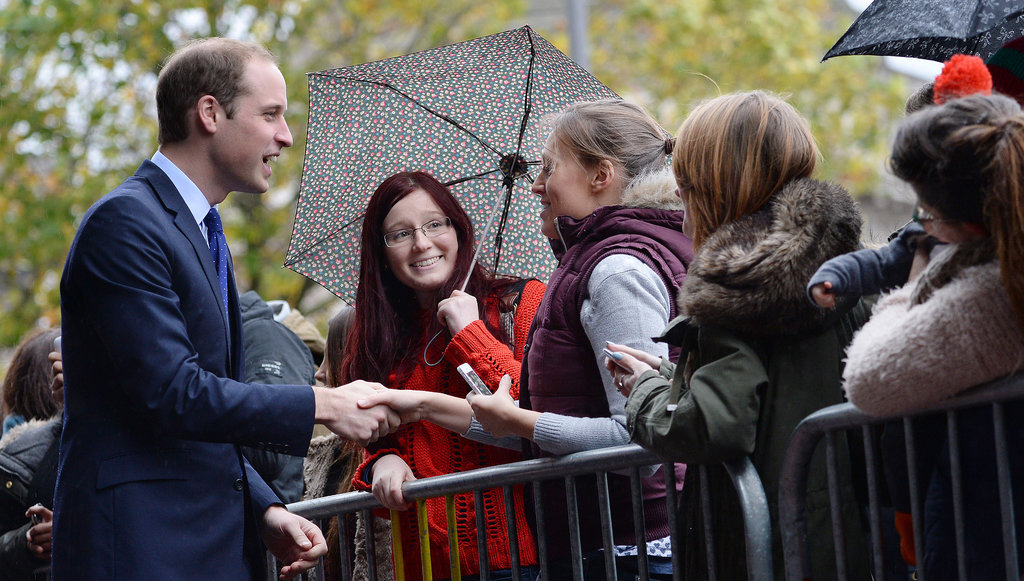 Prince William greeted visitors outside while in Birmingham, England.