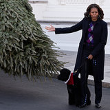 Michelle, Sasha & Malia Obama; White House Christmas Trees