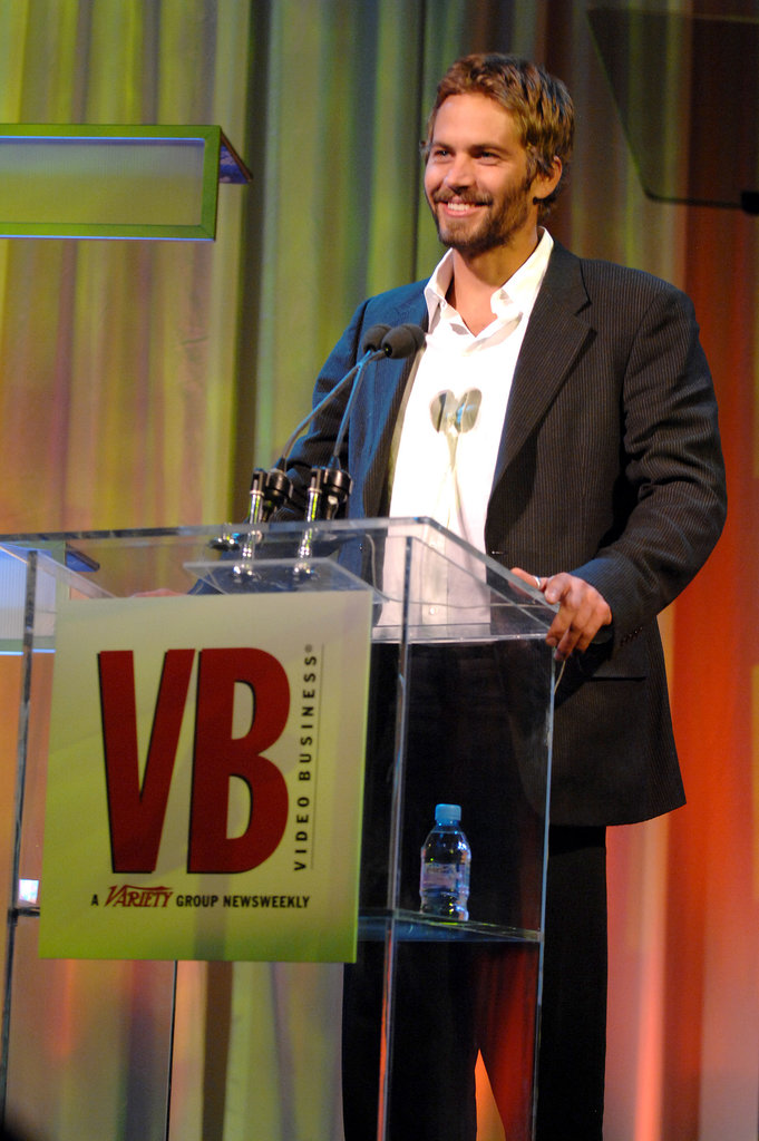 Paul Walker spoke on stage at the Video Business Hall of Fame event in December 2006.