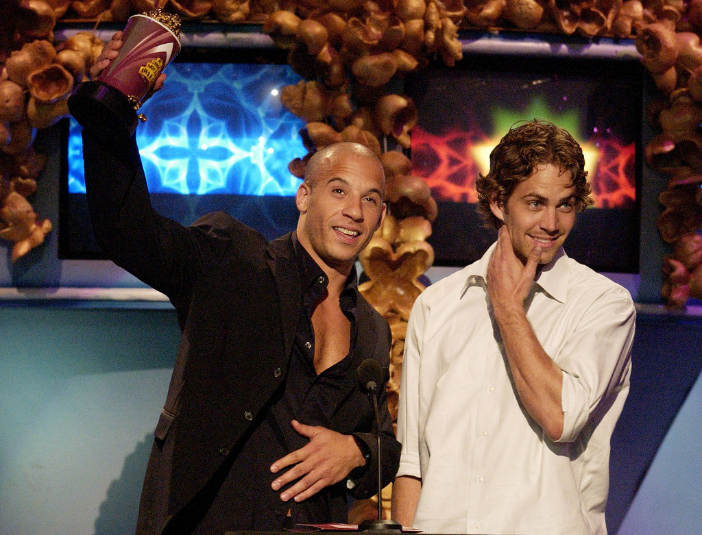 Paul Walker and Vin Diesel accepted a statue together at the MTV Movie Awards in LA in June 2002.
