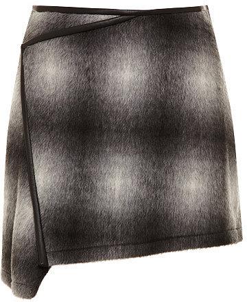10 Crosby Derek Lam Ombre Plaid Wool-Blend Asymmetric Skirt