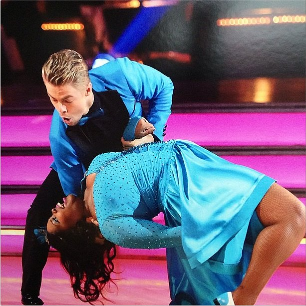 Derek Hough and Amber Riley were anything but blue after winning Dancing With the Stars. Source: Instagram user derekhough