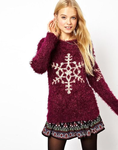 ASOS Fluffy Christmas Jumper With Snowflake