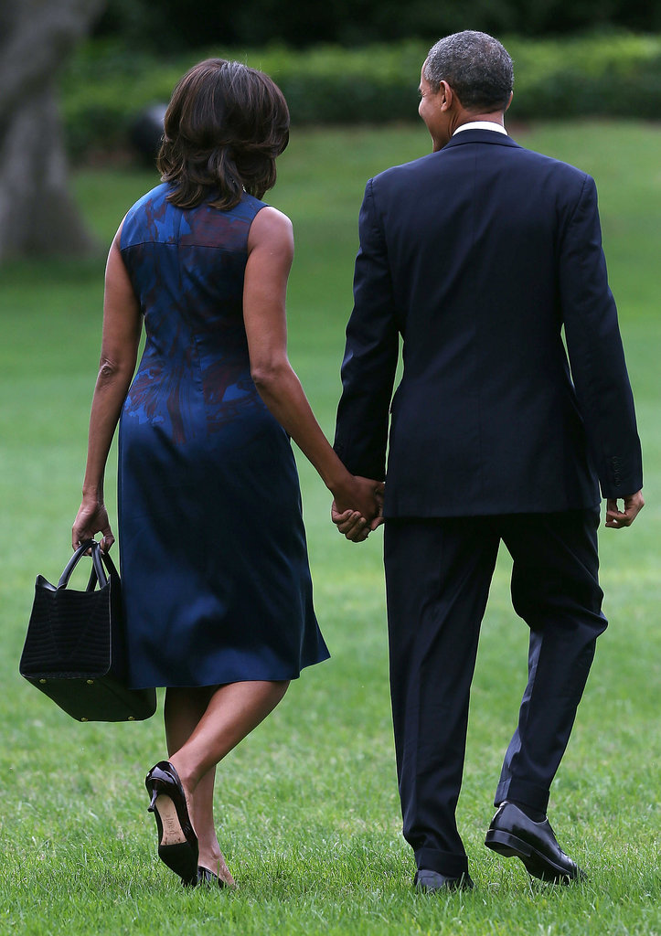 The Obamas had a bounce in their steps while departing the White House for New York City in September.