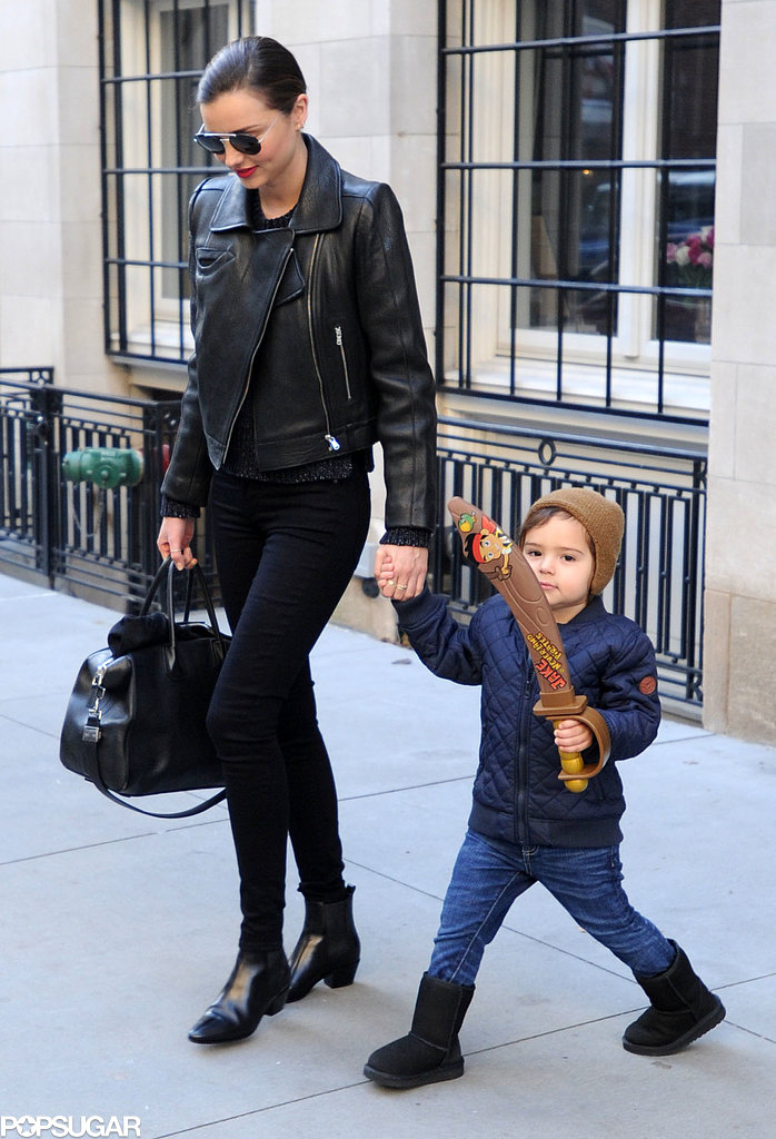 Miranda Kerr was all smiles while walking with her little man, Flynn, in NYC on Sunday.