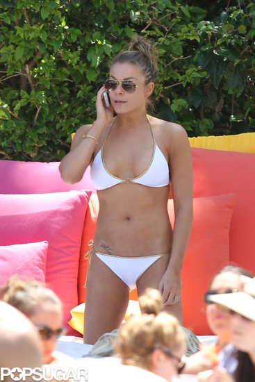 In April, LeAnn Rimes wore a white bikini during a vacation in Miami.