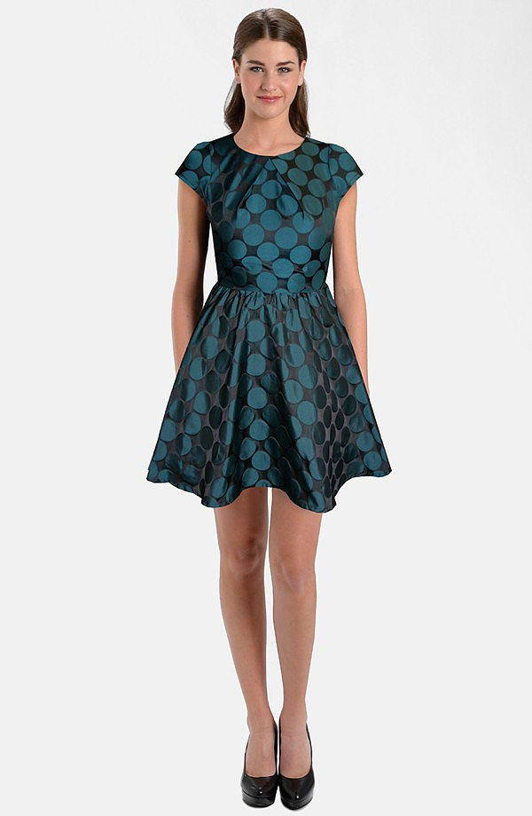 How perfect is this festive Nordstrom by Five Twelve Jacquard Taffeta Fit & Flare Dress ($148) for a family holiday party?