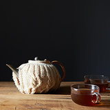 Cream Wool Cable-Knit Tea Cosy