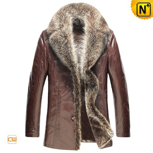 Men Shearling Sheepskin Coats with Raccoon Fur Trim CW868889