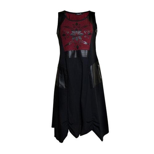 Sophie B Red Two Tone Black Sleeveless Dress