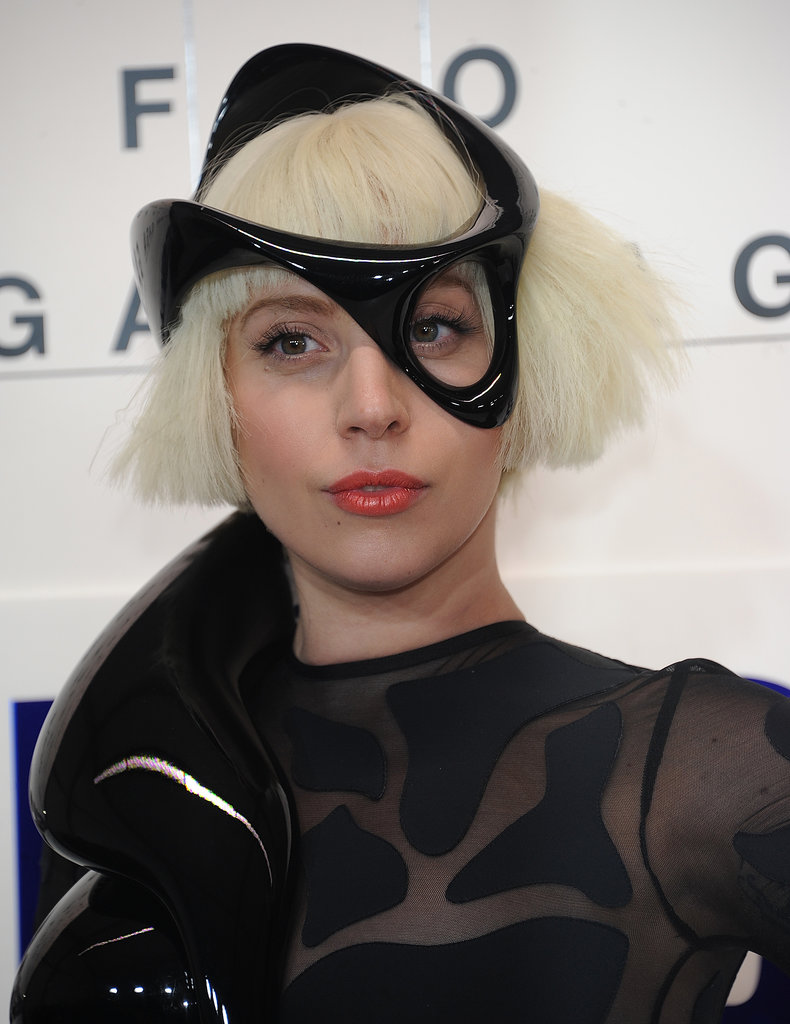 At her official ARTPOP release party, she chose a shorn peroxide style with an interesting hair accessory.